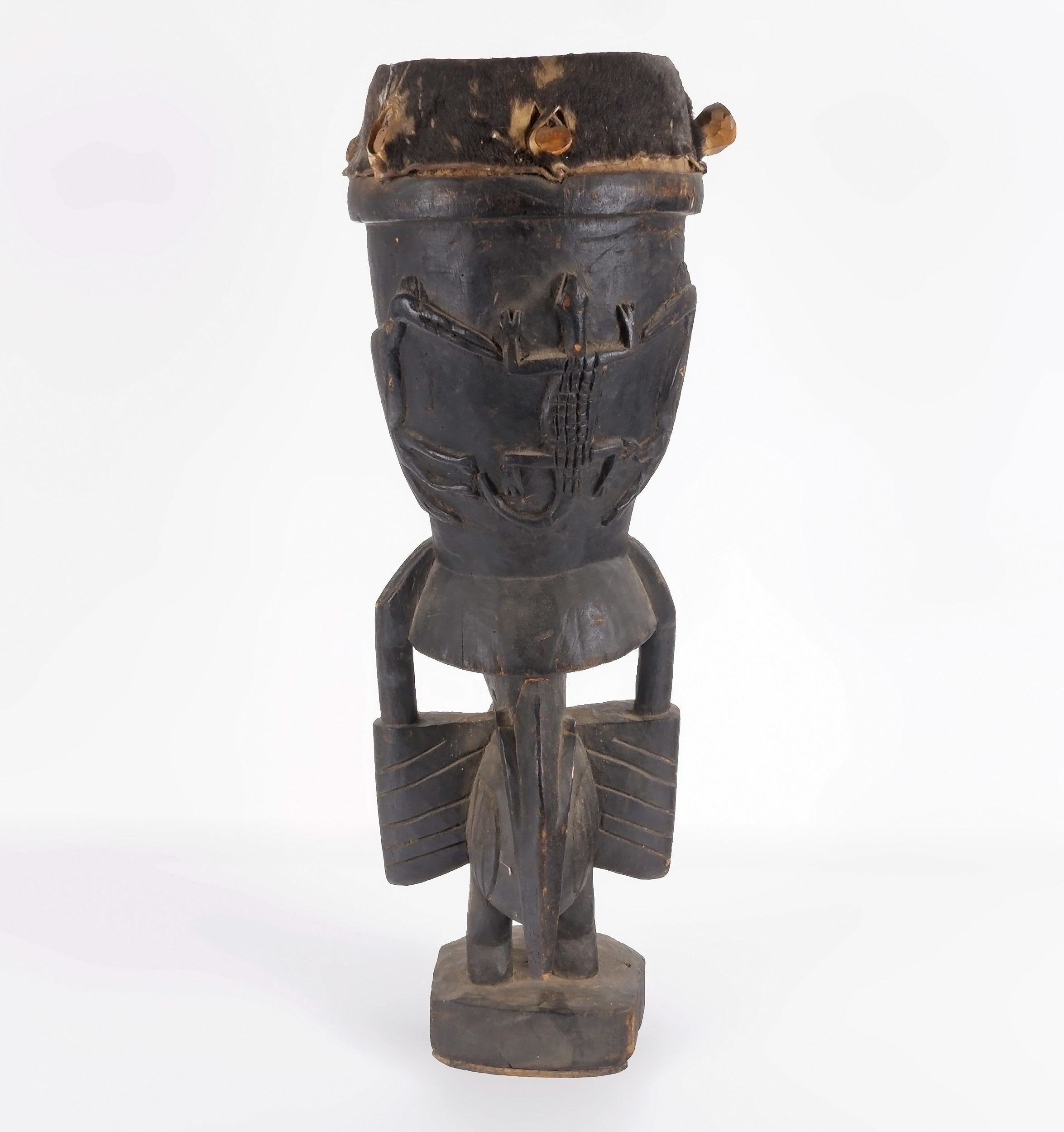 'Upper Volta Carved and Pierced Hide Covered Drum'