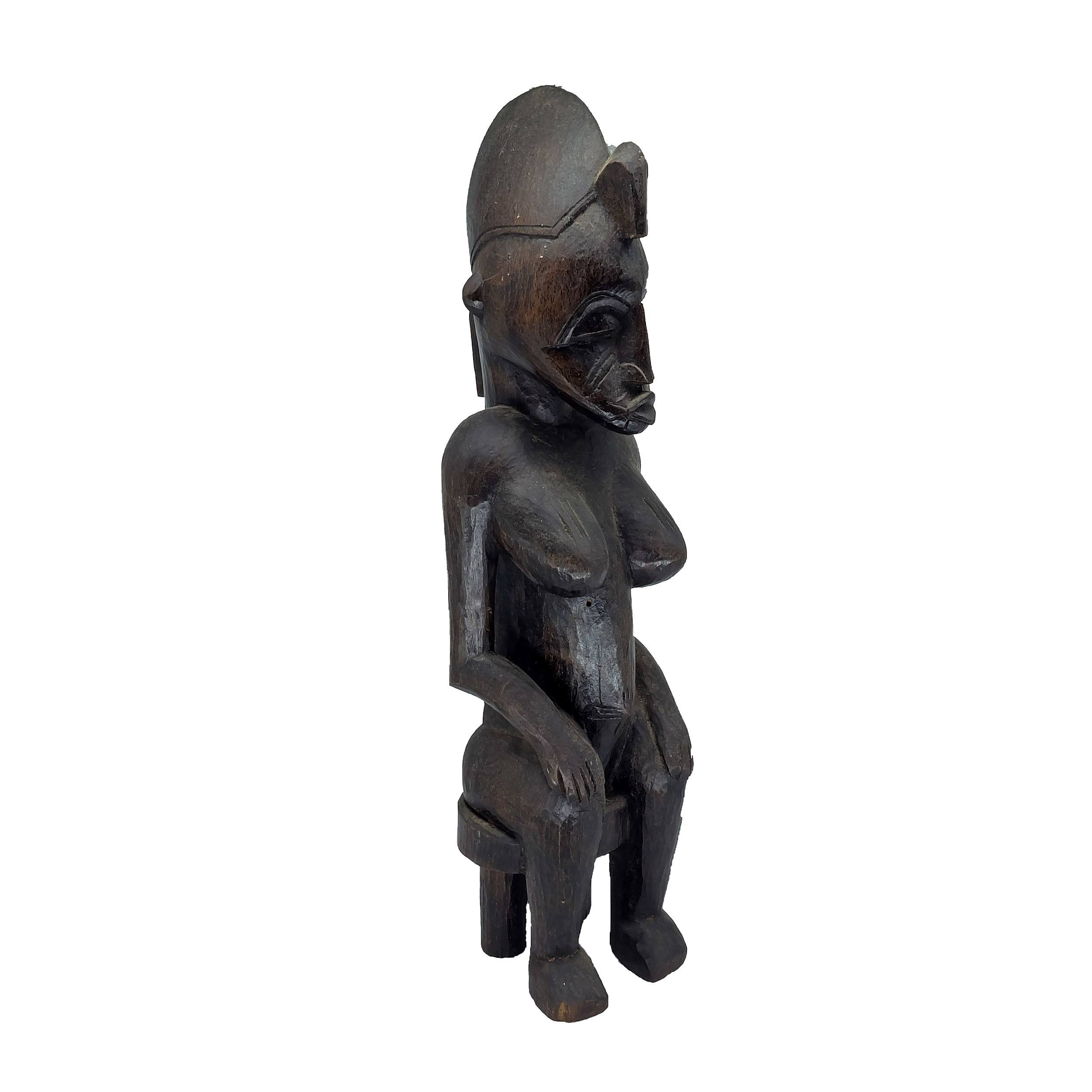 'African Bamana or Senufo Peoples Seated Female Figure, Ivory Coast 20th Century'