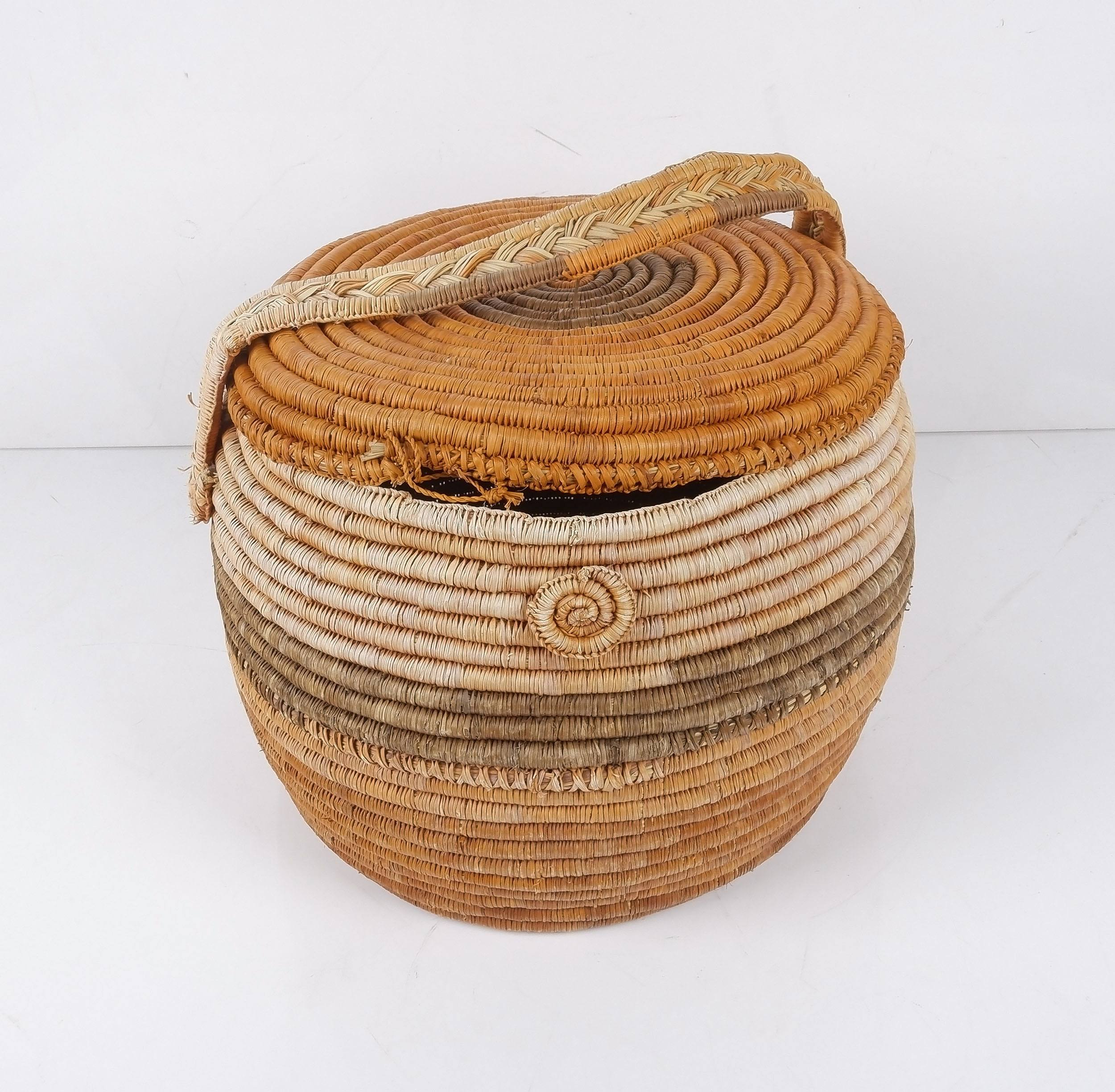 'Aboriginal Dyed Pandanus Basket by Ngal Maladba/Daisy Wogbara of Gunwinggu Clan'