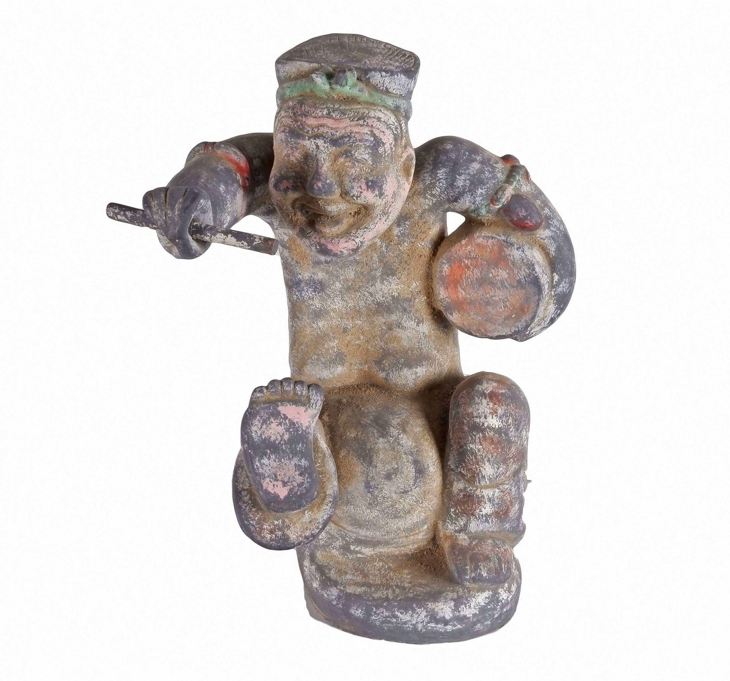 'Chinese Han Style Ceramic Model of a Balladeer, 20th Century'