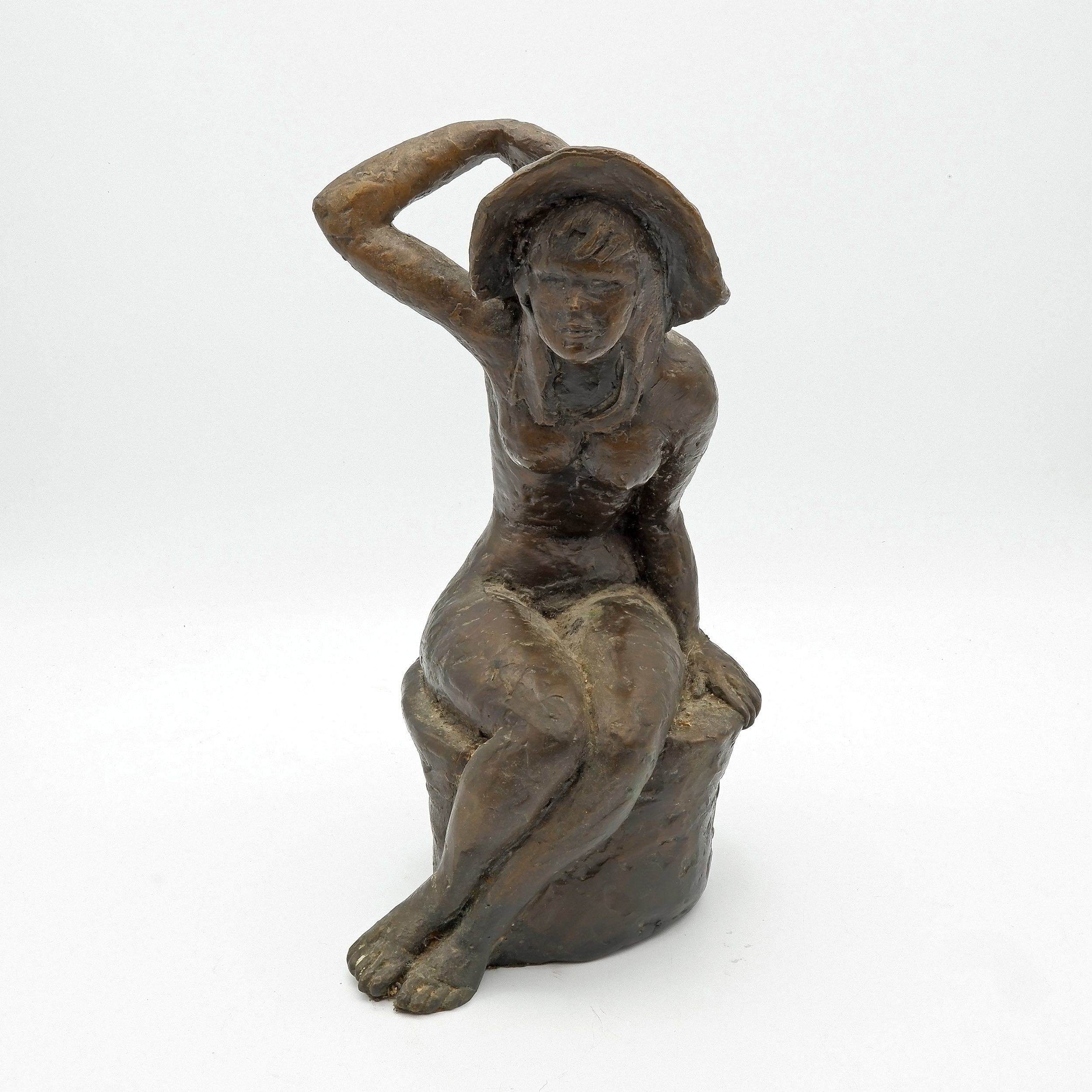 'Guy Boyd (1923-1988) Seated Girl with Hat, Bronze Edition 2/12'