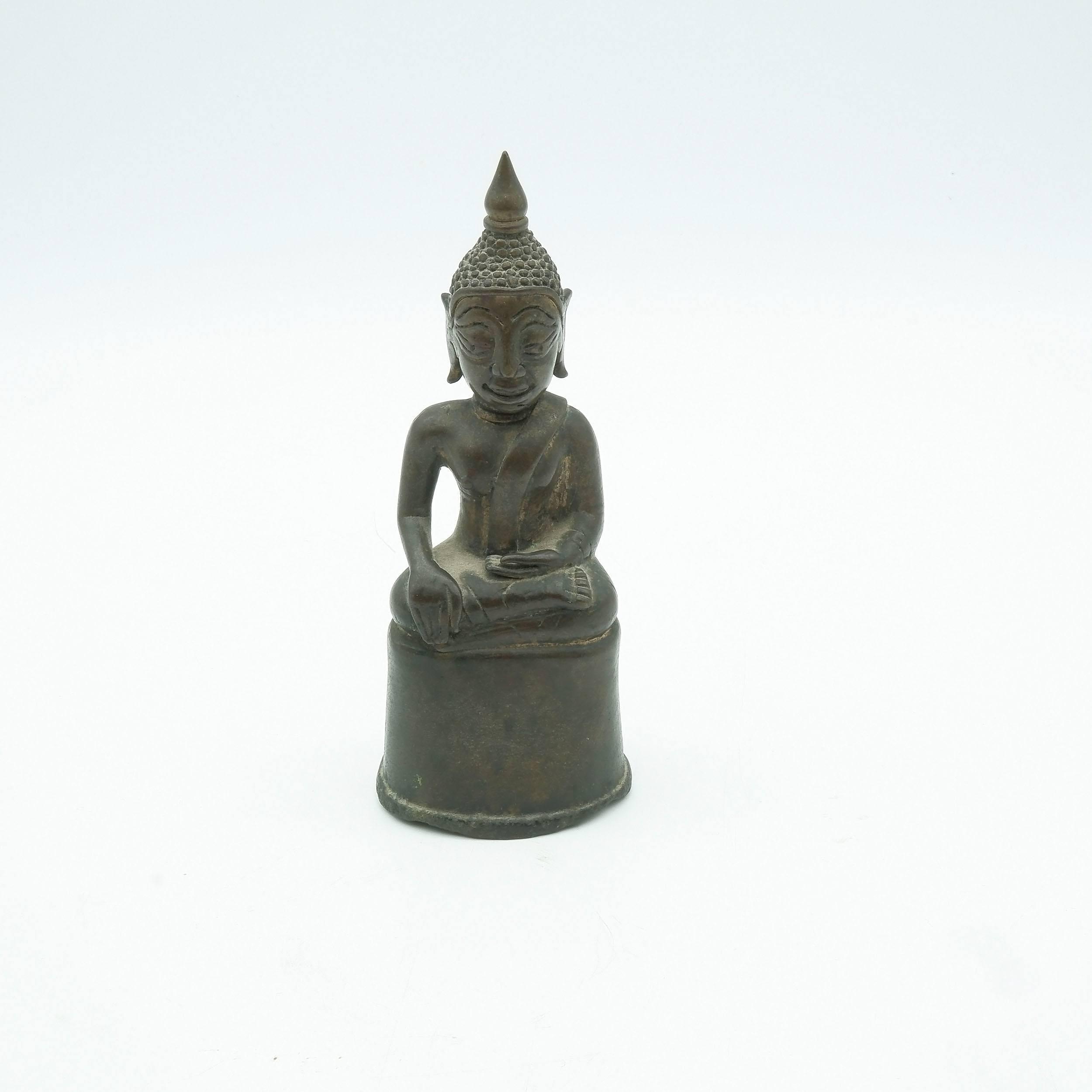 'Luang Prabang Bronze Sitting Buddha Subduing Mara'