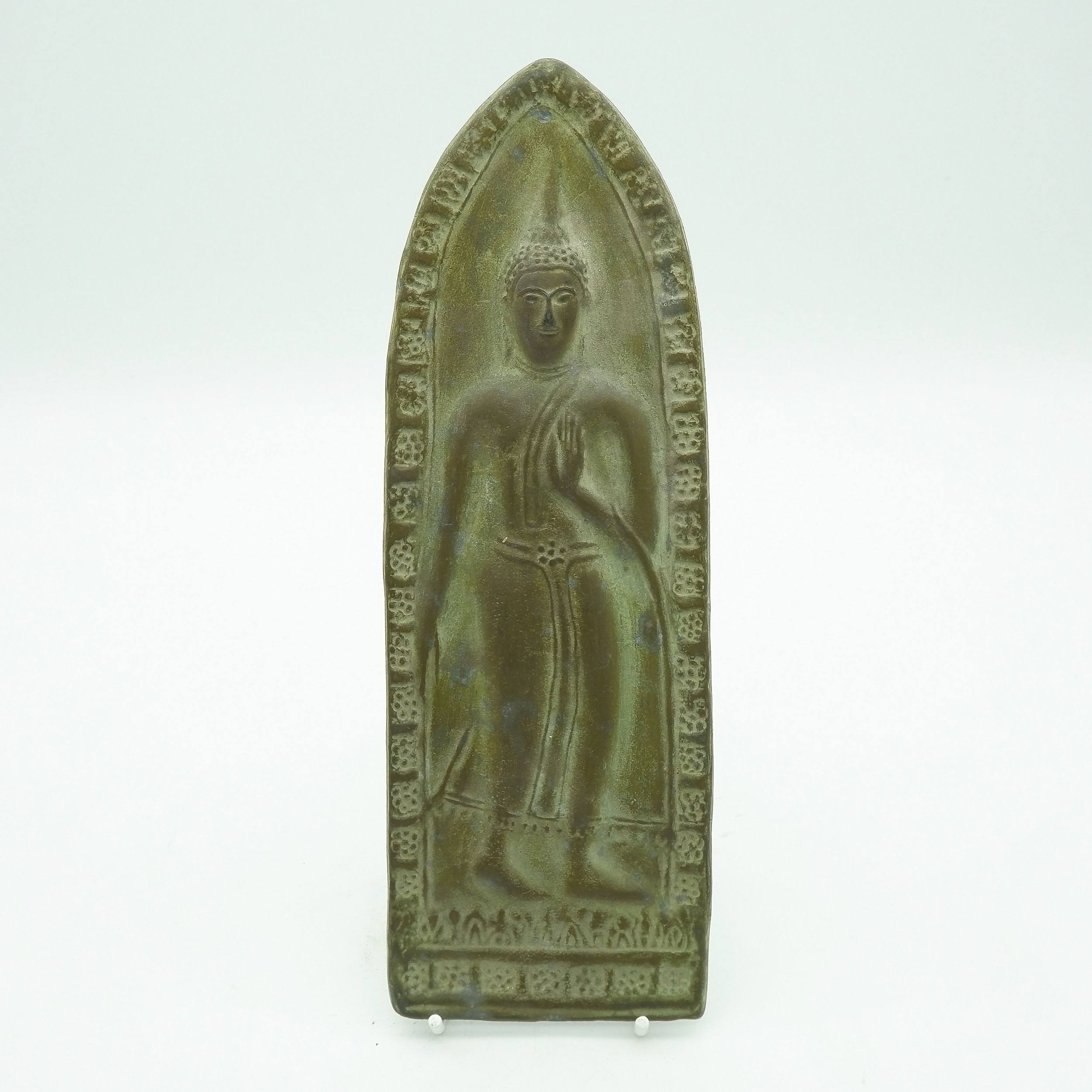 'Thai Sukhothai Style Lead Votive Tablet, Laos Late 20th Century'