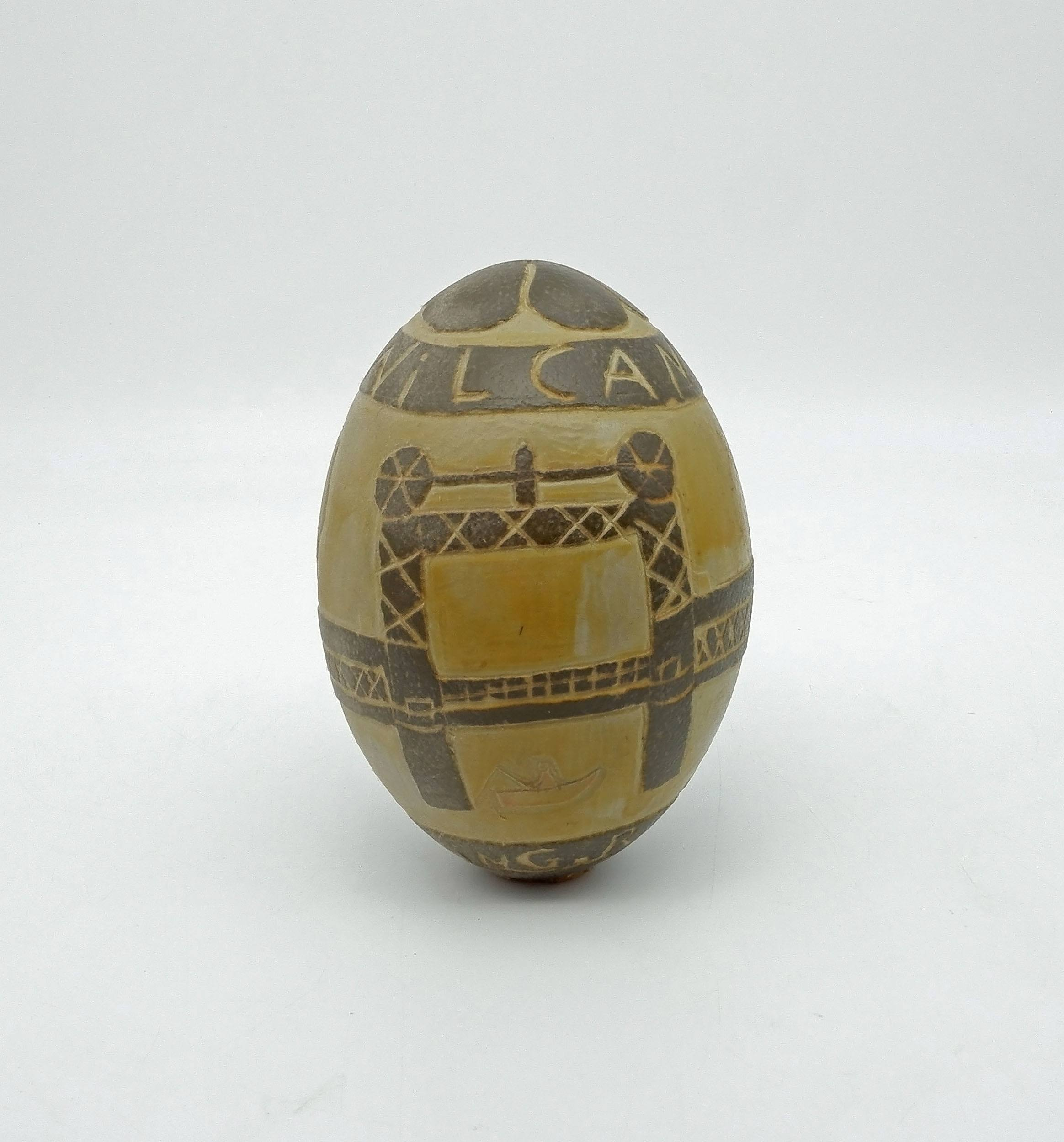 'Aboriginal Carved Emu Egg by Bill Bates'