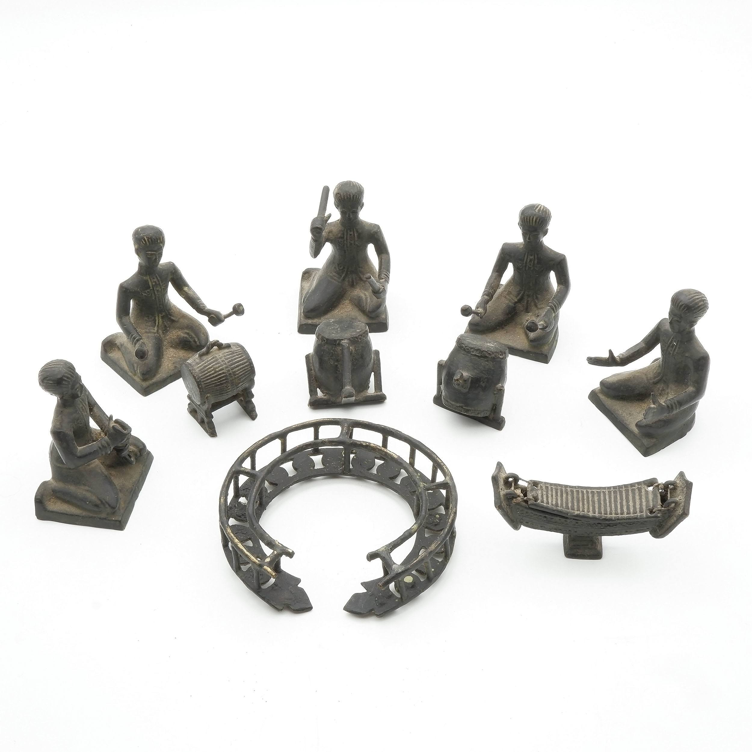 'Set of 5 Cambodian Bronze Musicians and Instruments Models '