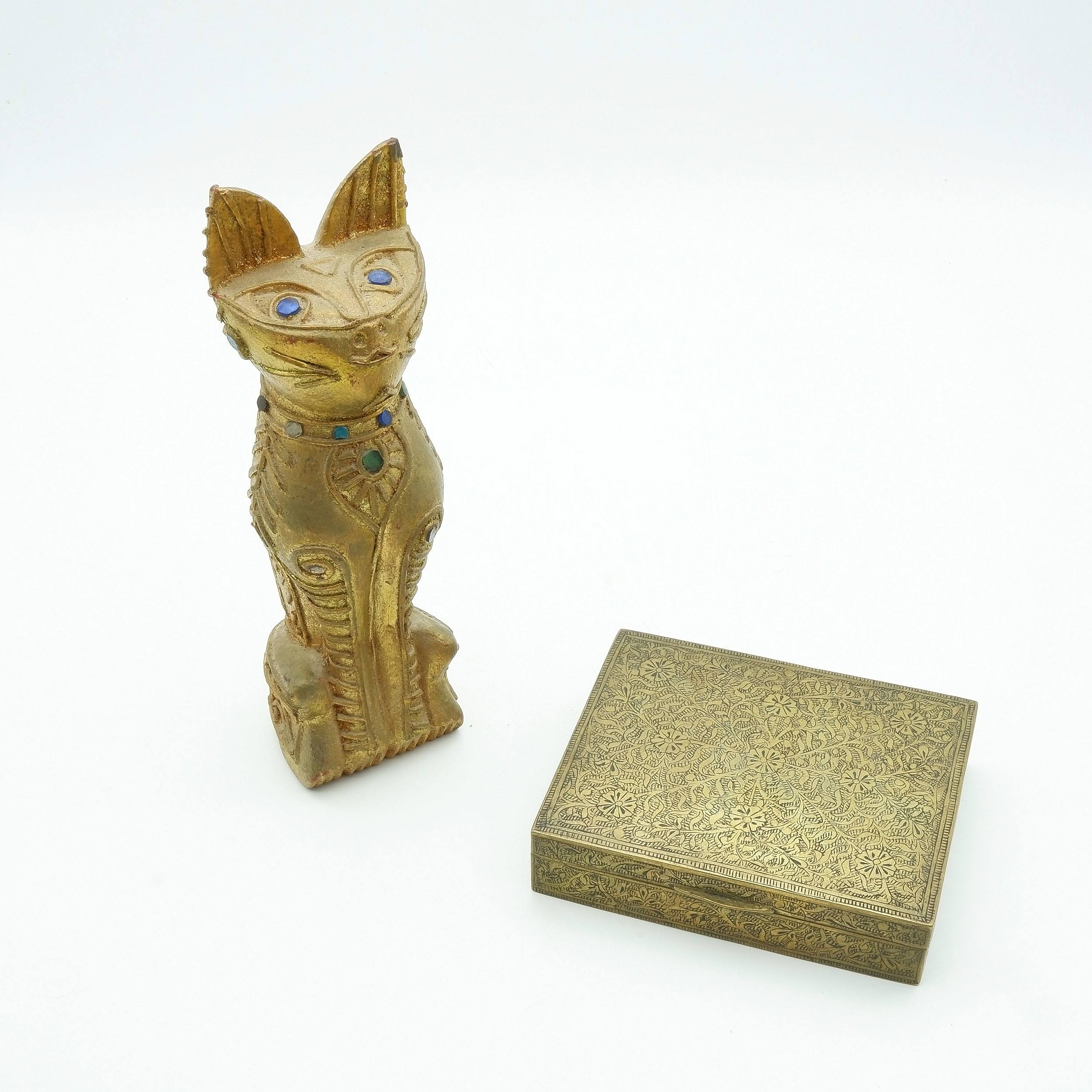 'Pakistani Brass Cigarette Box Bought in 1950s and Lao Gilt Cat Circa 1966'