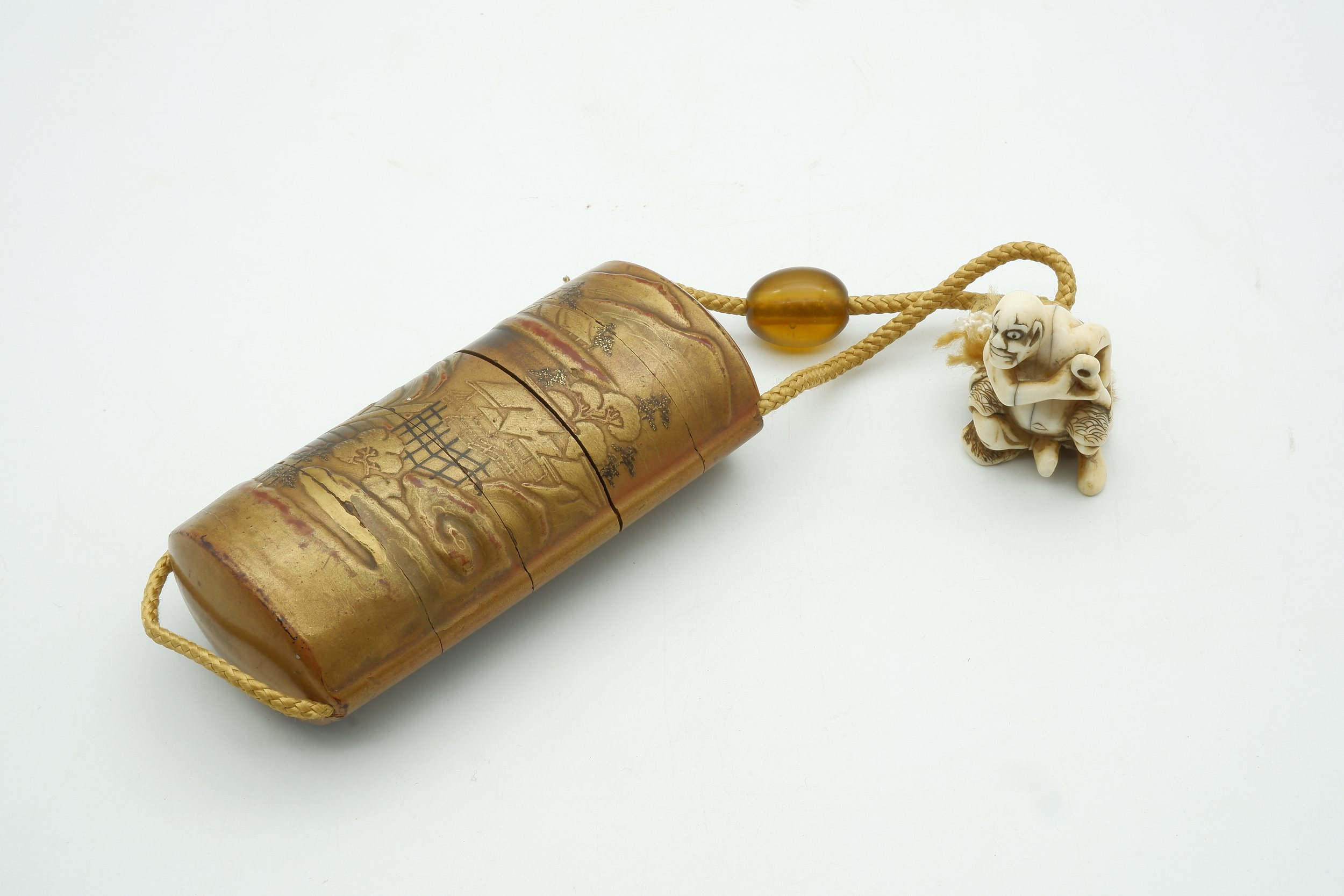 'Old Japanese Inro (Medicine Case) with Netsuke Figure and Ojime (Bead Slide) Between Silk Cord 19th Century '