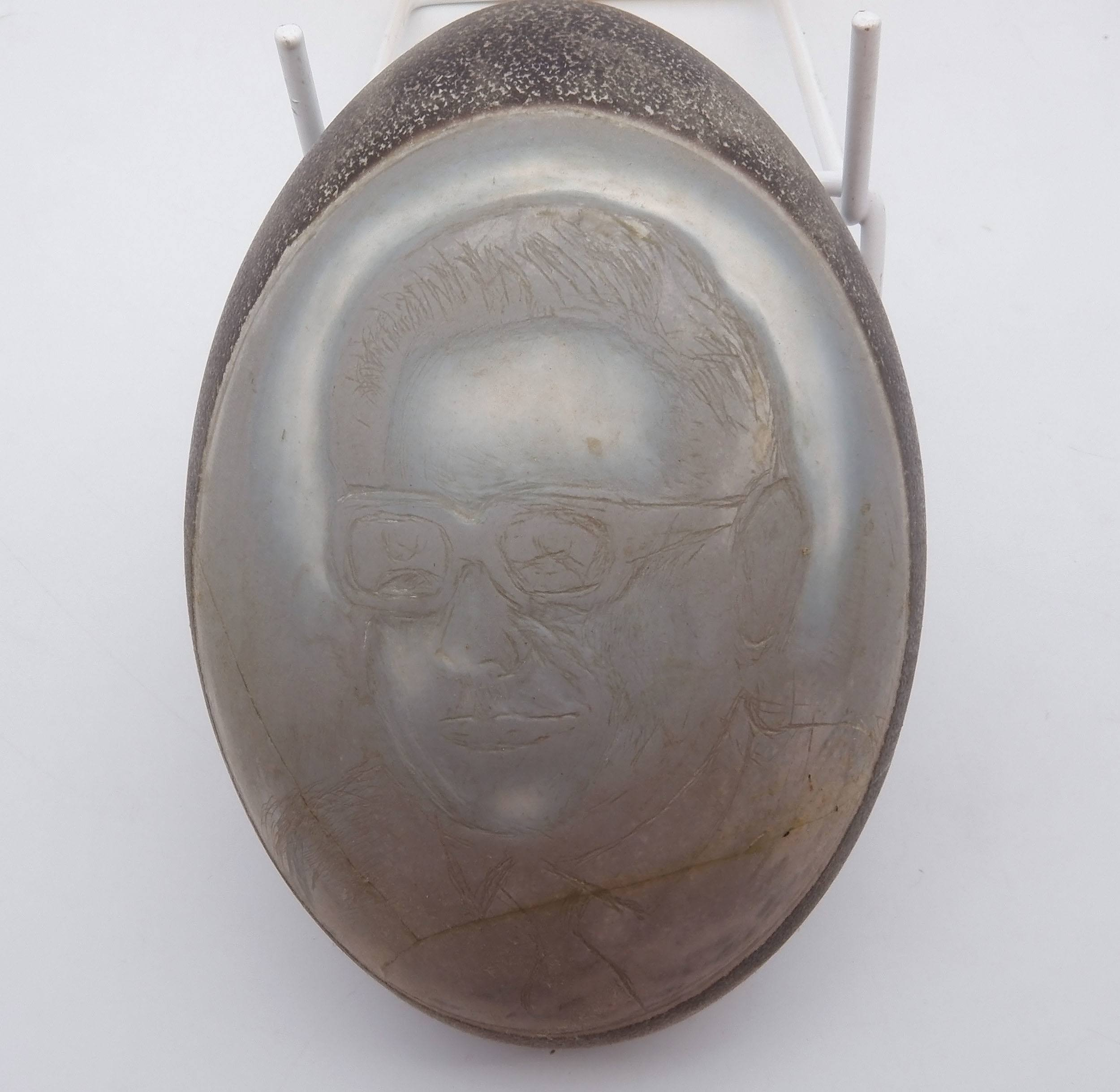 'Aboriginal Carved Emu Egg Portrait of Barrie Dexter by Bill Bird'