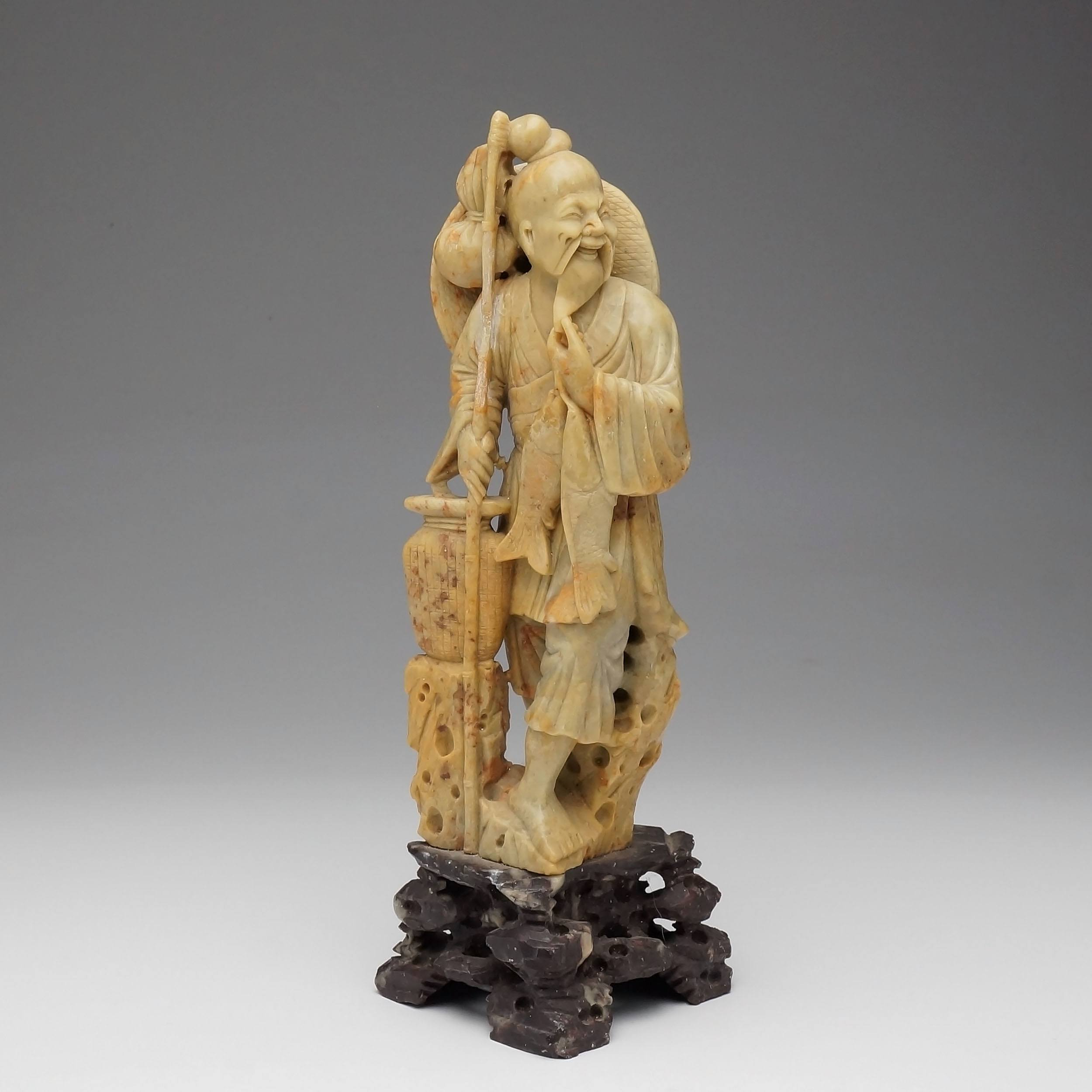 'Chinese Soapstone Carving of a Fisherman'