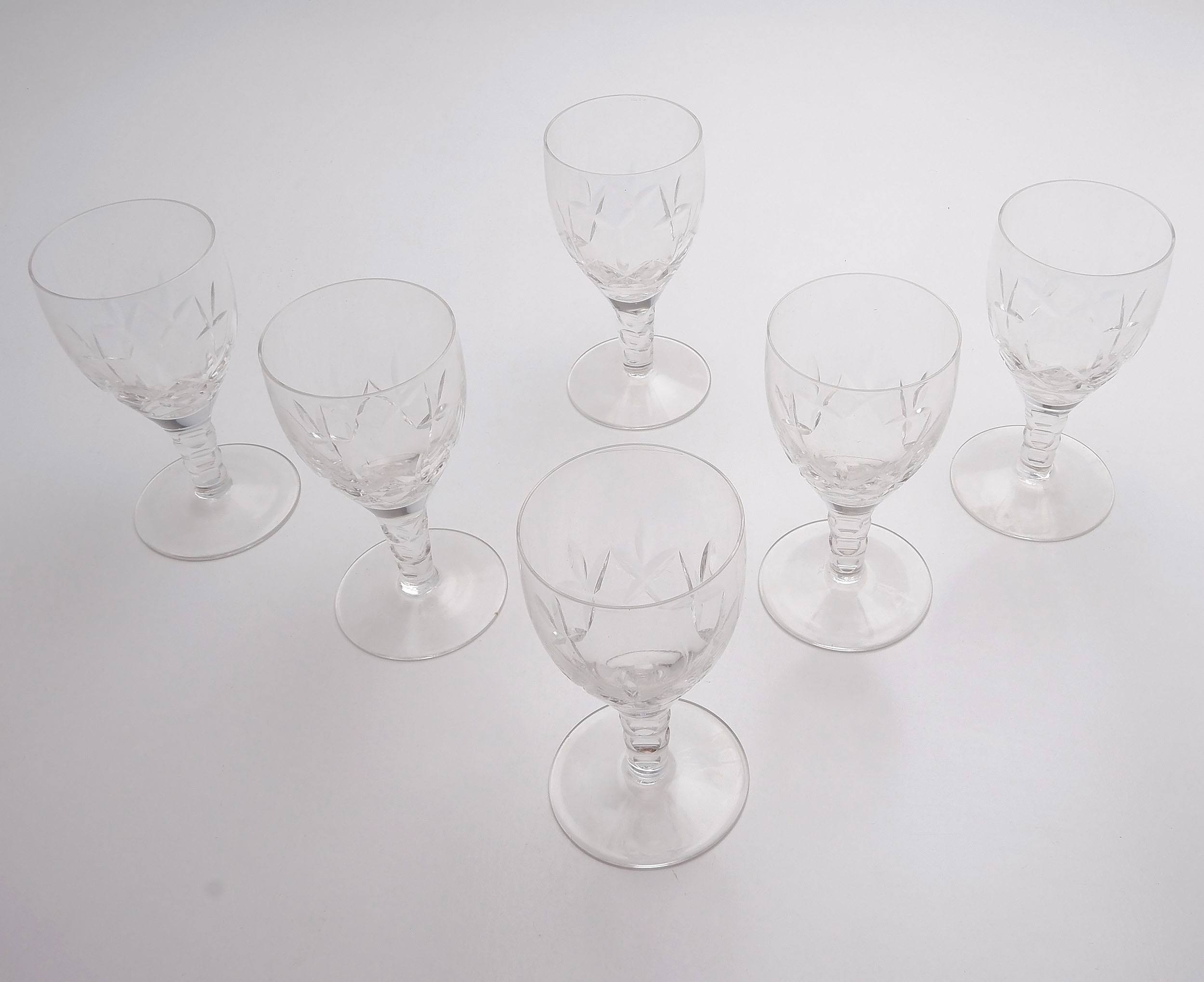 'Six Stuart Crystal Beau Pattern Port Glasses'