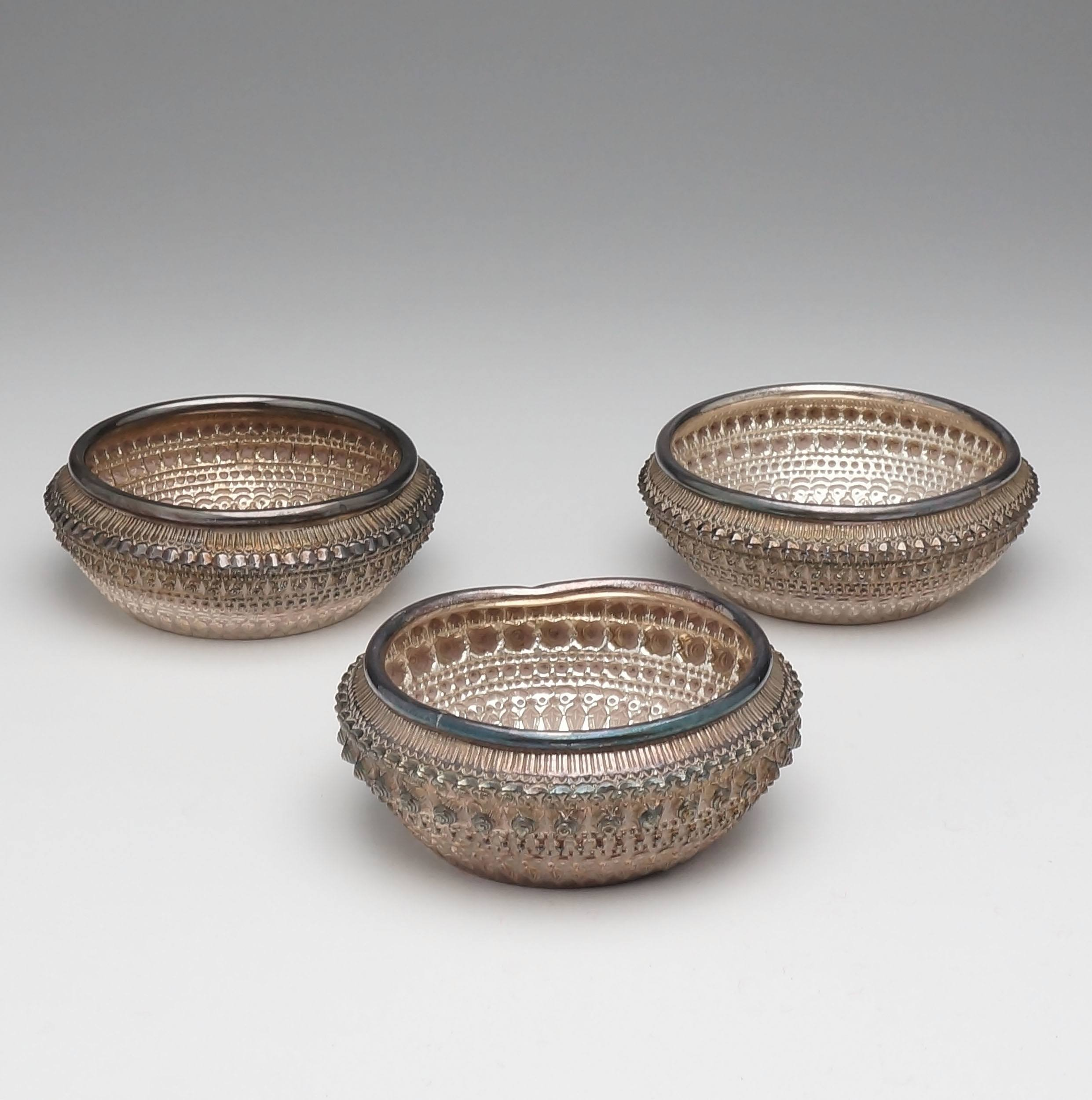 'Three Lao Silver Repousse and Engraved Finger Bowls, Gifts from the King and Queen of Laos'