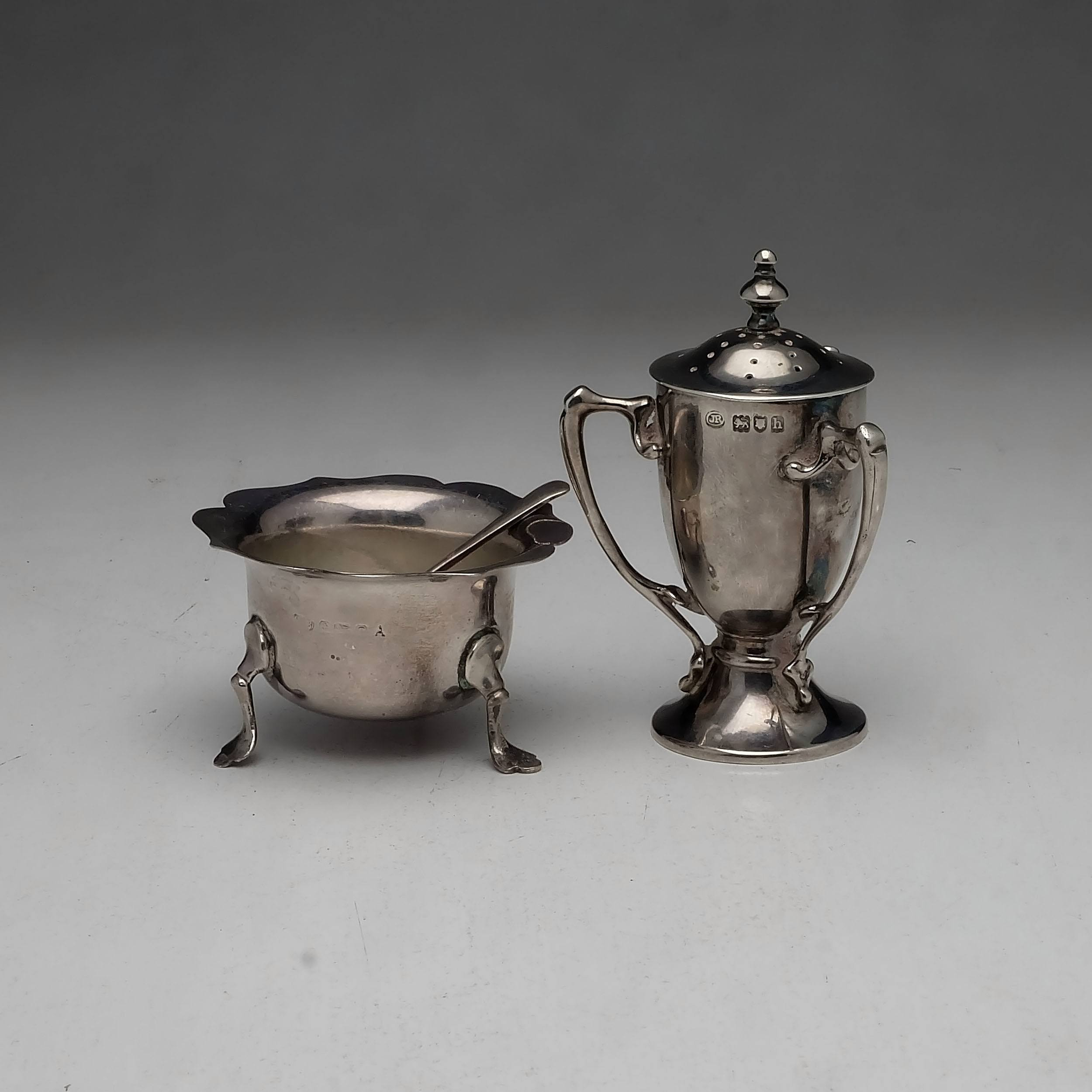 'Edwardian Sterling Silver Trophy Form Pepper Pot John Round & Son Ltd London 1903, and a Sterling Silver Open Salt Birmingham '