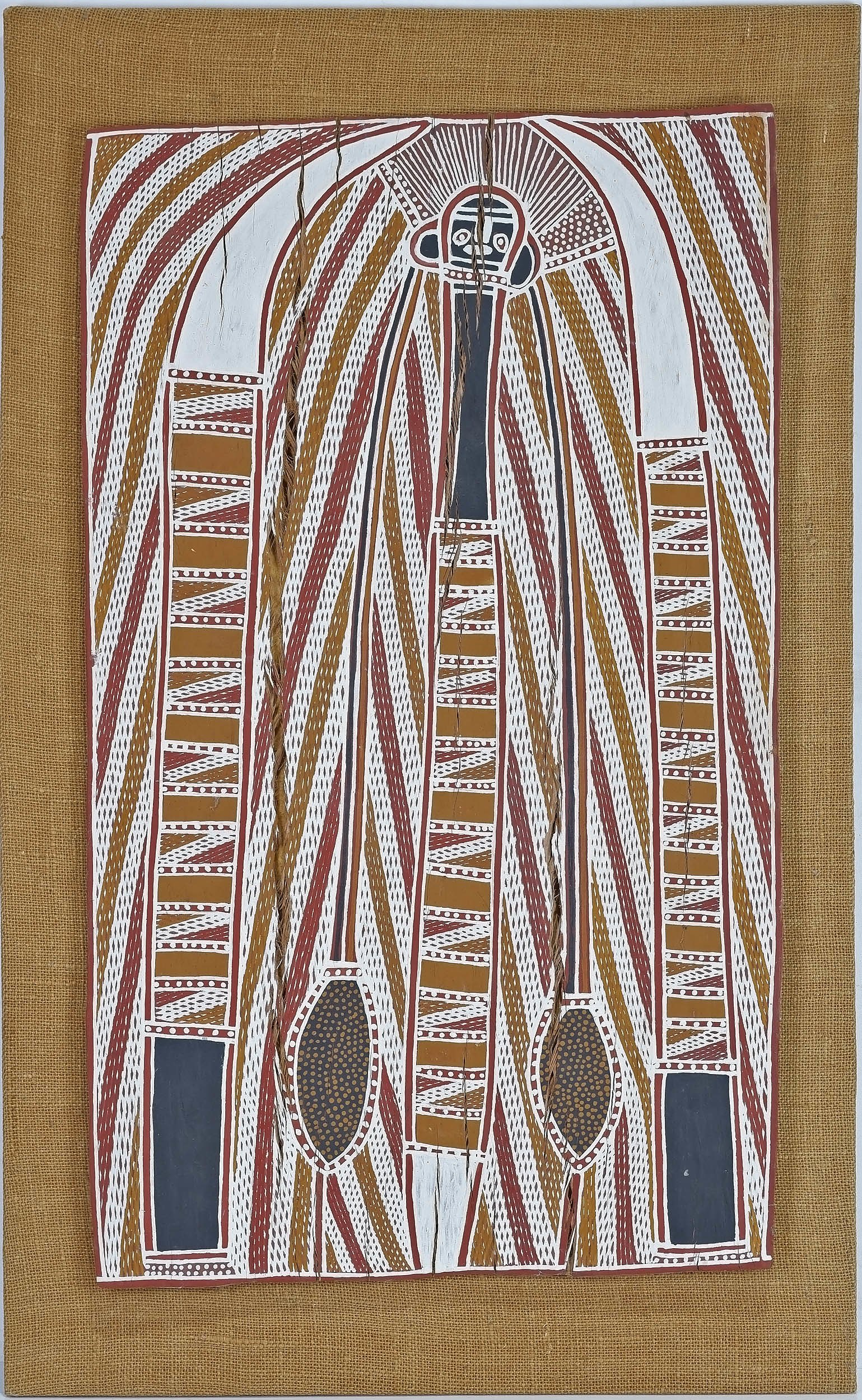 'Paddy Dhatangu (Galwanuk-Liyagalawumirr 1915-93) Father Totem, Natural Earth Pigments on Eucalyptus Bark'