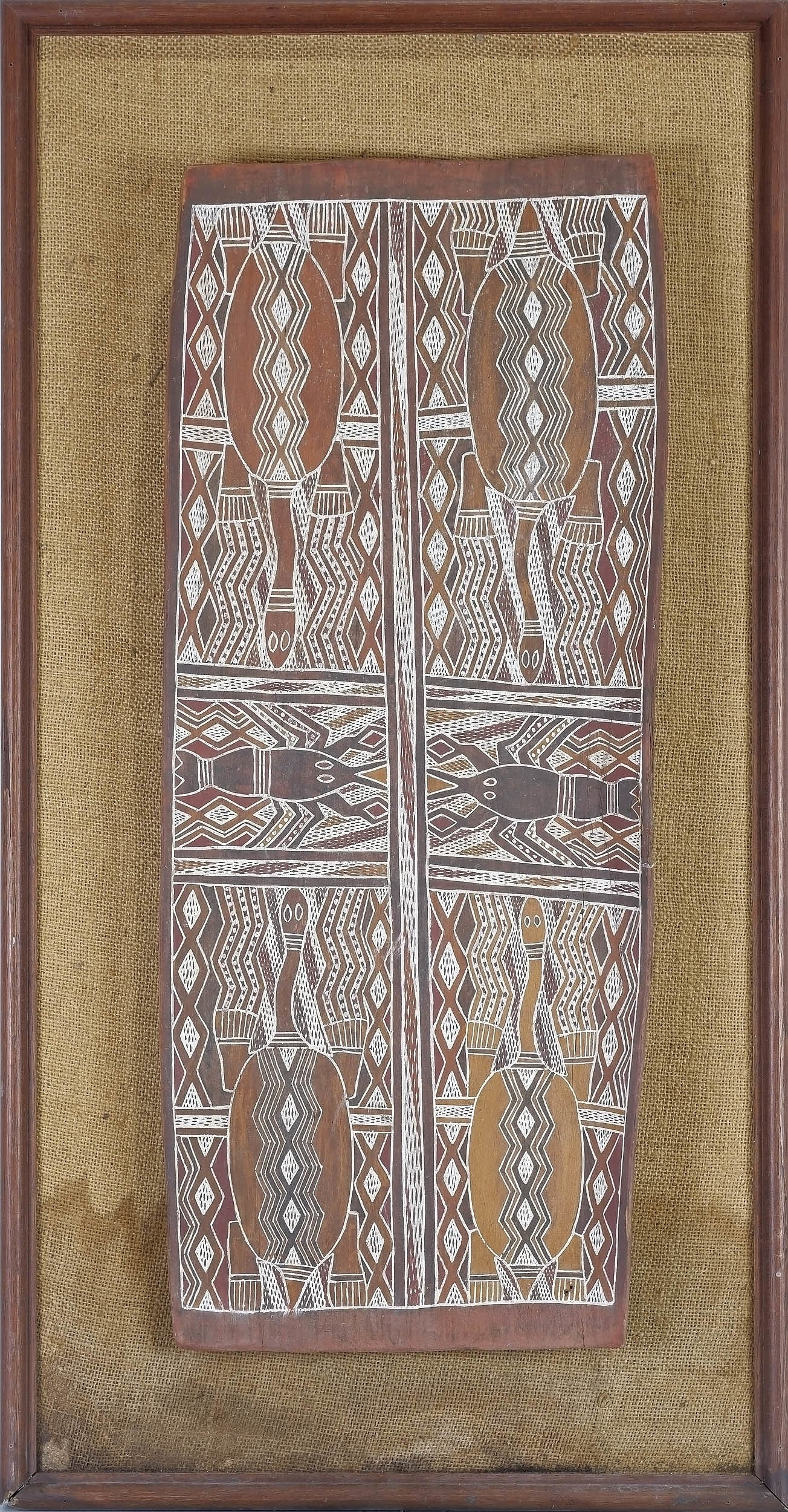 'Gawarin (Yirrkala) Barama the Creator of Yirritja Patterns, Natural Earth Pigments on Eucalyptus Bark'