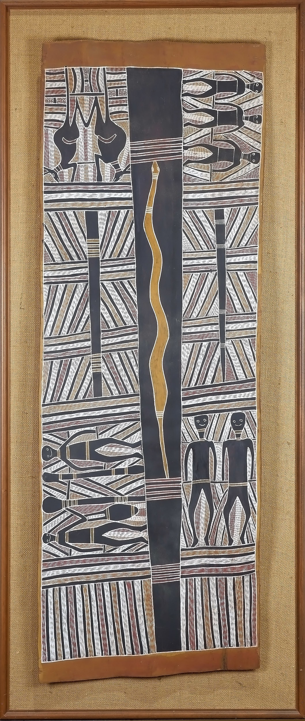 'Mithili Wanambi (Marrakulu c.1923-81) The Naming of the Artists Country Circa 1976, Natural Earth Pigments on Eucalyptus Bark'