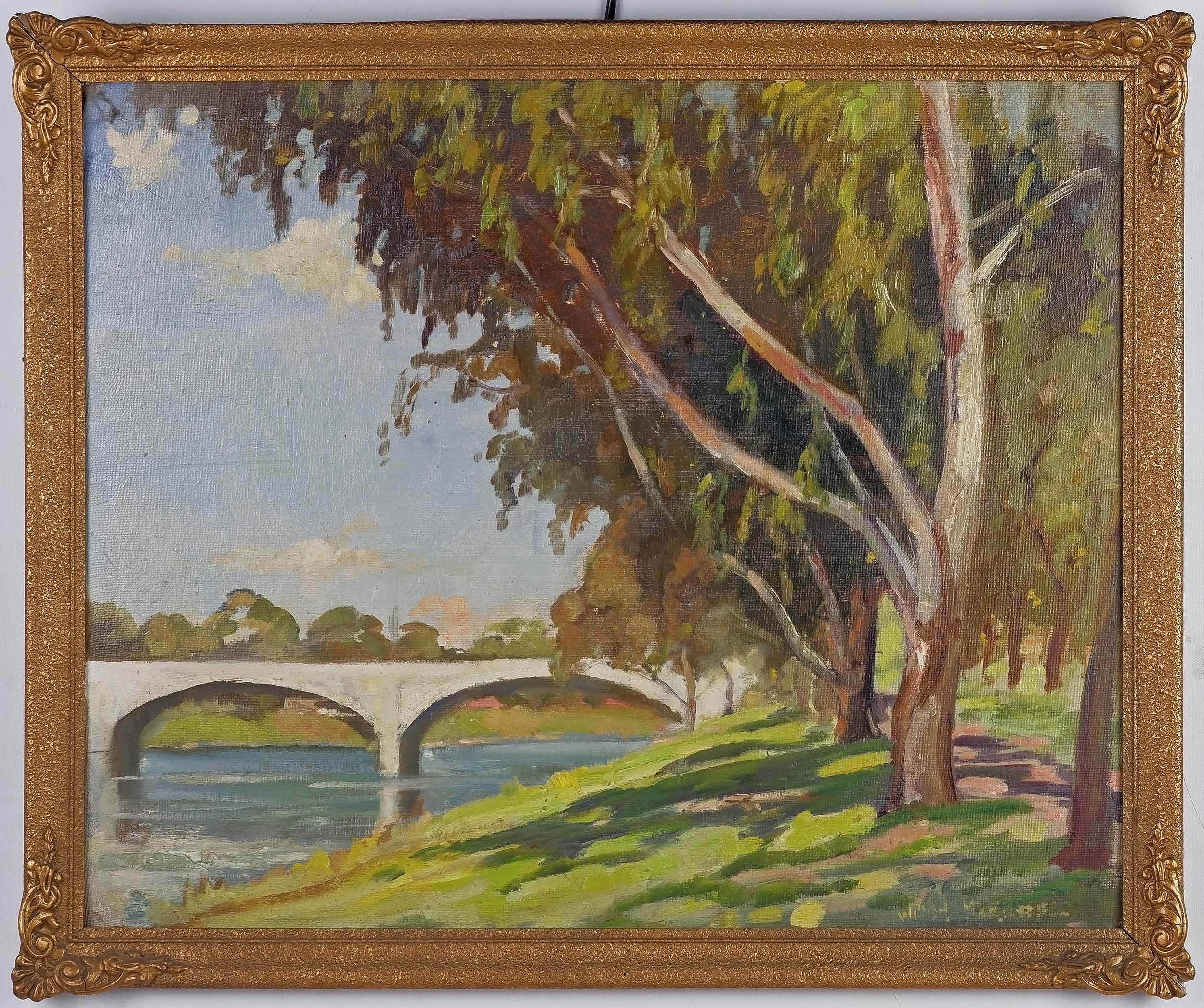 'William MacGuffie (Dates Unknown) The White Bridge - The Anderson St Bridge Over the Yarra, Oil on Canvas Board'