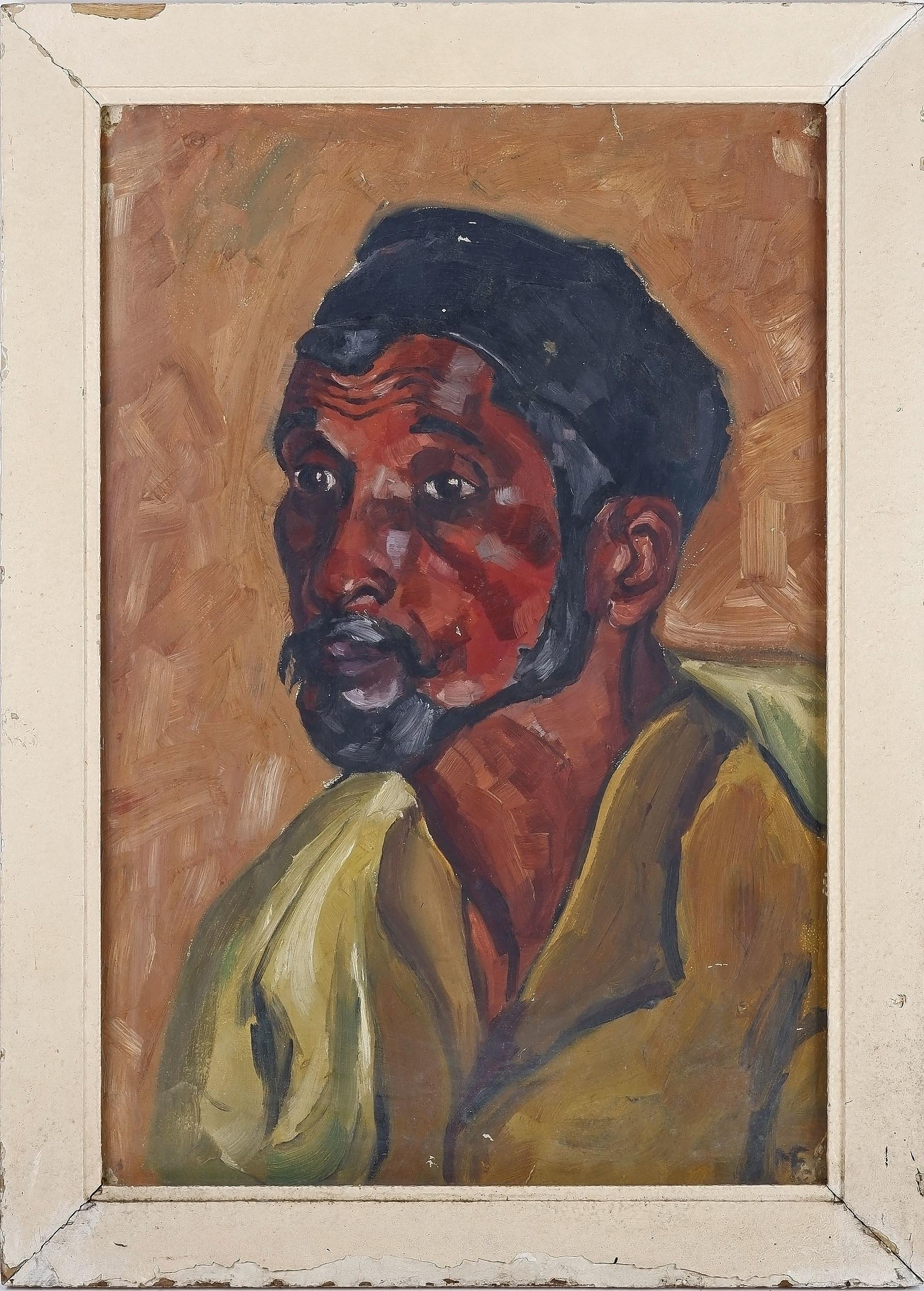 'Memona Feroz Nana (Pakistani) Sweeper 1957, Oil on Card'