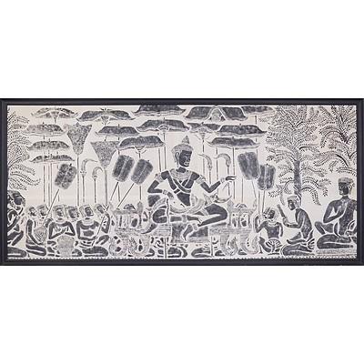 Large Framed Rubbing of Angkor Watt Made by the Monks of Ankor Watt 1967