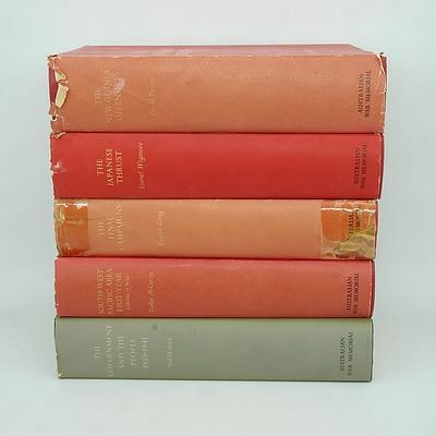 Five Volumes of Australia in the War 1939-1945, Lionel Wigmore, David Dexter, Paul Hasluck, Dudley McCarthy and Gavin Long