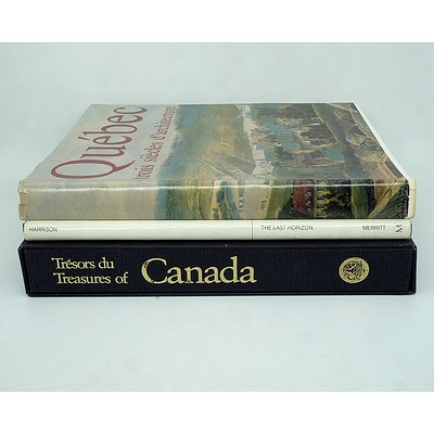 Three Books Given to Barrie Dexter During his Posting to Canada, Including Treasures of Canada, Quebec and the Last Horizon