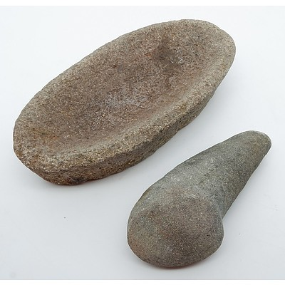 Aboriginal Seed Grinding Stone and Pestle