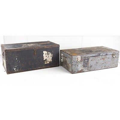 Two Large Ex Diplomatic Metal Trunks