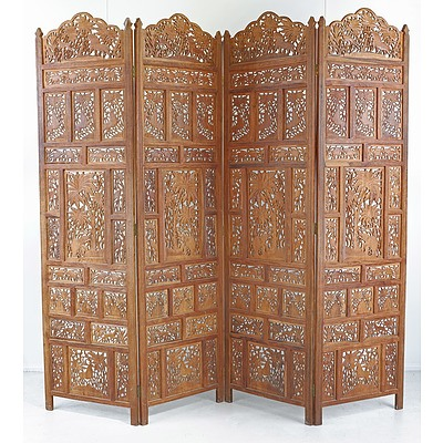 South East Asian Carved and Pierced Teak Folding Screen
