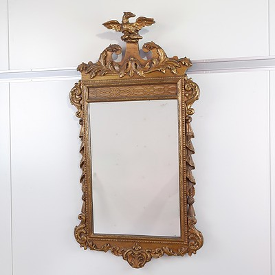 Regency Style Carved Giltwood Pier Mirror with Eagle Crest Late 19th Century