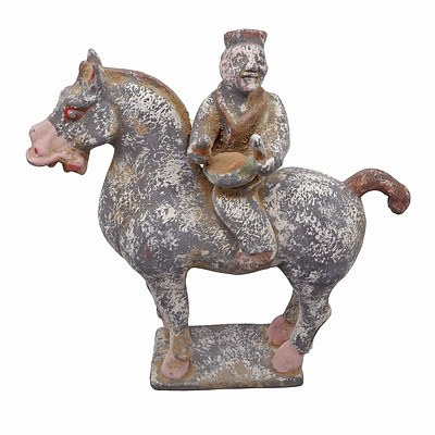 Chinese Han Style Ceramic Model of a Drummer on Horseback, 20th Century