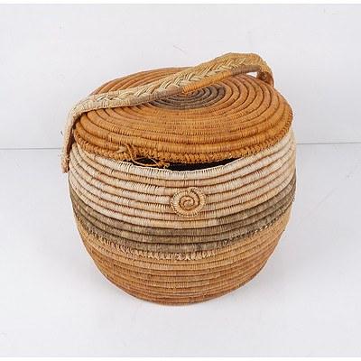 Aboriginal Dyed Pandanus Basket by Ngal Maladba/Daisy Wogbara of Gunwinggu Clan