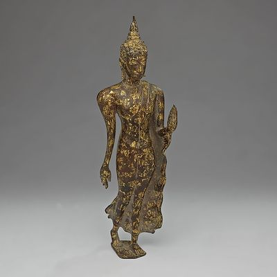 Thai Gold Splashed Bronze Walking Buddha in Abhayamudra, Ayutthaya Period Circa 18th Century or Later