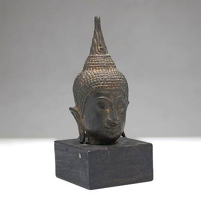 Thai Bronze Fragmentary Head of Buddha