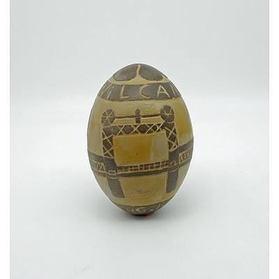 Aboriginal Carved Emu Egg by Bill Bates
