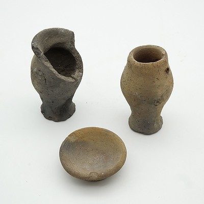 Two Ancient Egyptian Jars and Votive Dish