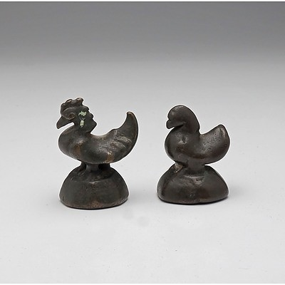 Two Lao Rooster Form Opium Weights From Ban Houi Sai