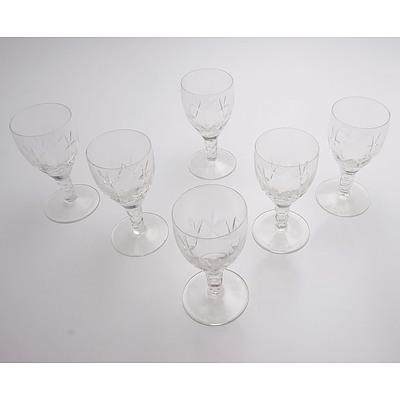 Six Stuart Crystal Beau Pattern Port Glasses