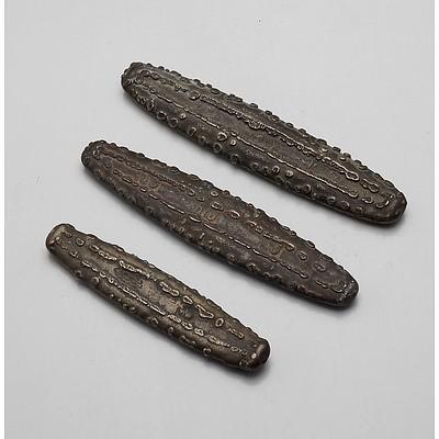 Three Lao Silver Tiger Tongue Coins
