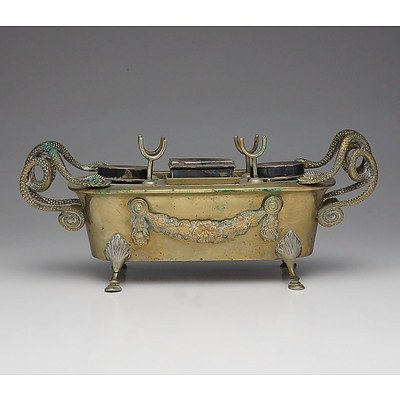 Antique French Brass Desk Set with Wreath and Snake Form Handles 19th Century
