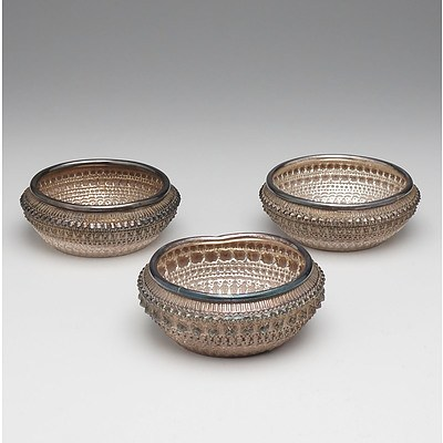 Three Lao Silver Repousse and Engraved Finger Bowls, Gifts from the King and Queen of Laos