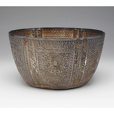 Lao Silver Repousse Rose Bowl Decorated with Six Praying Thepphanom Figures Seated on Lotus Flowers Surrounded by Scrollwork