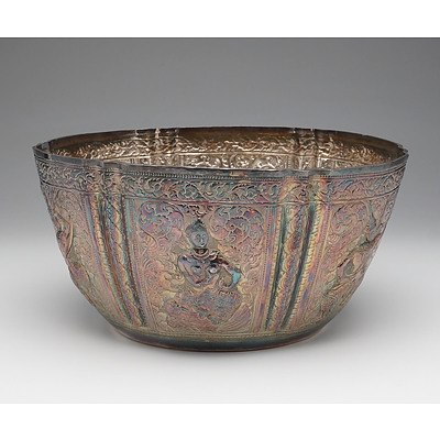Lao Silver Repousse Rose Bowl with Six Facades of Alternating Warrior Figures Surrounded by Scrollwork