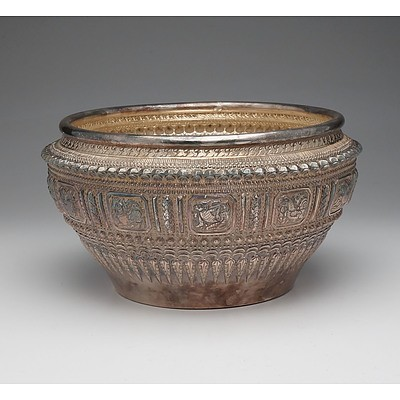 Lao Silver Repousse Rose Bowl Decorated with the Twelve Zodiac Animals, Jasmine Buds and Beadwork With Inscription to Base To Madame Dexte