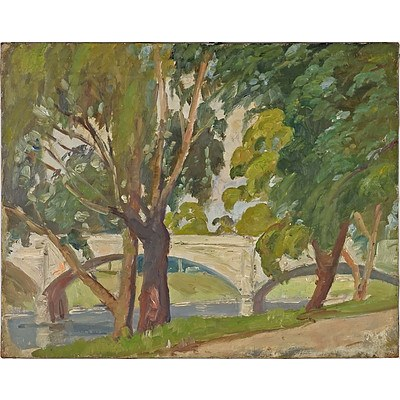 Evelyn Roadknight (1892-1974) Anderson St South Yarra, Oil on Canvas