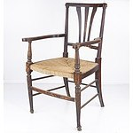 English Arts and Crafts Style Dining Chair with Seagrass Seat Early 20th Century