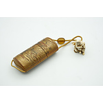 Old Japanese Inro (Medicine Case) with Netsuke Figure and Ojime (Bead Slide) Between Silk Cord 19th Century