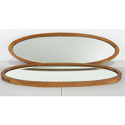 Pair of Vintage Oval Hardwood Mirrors