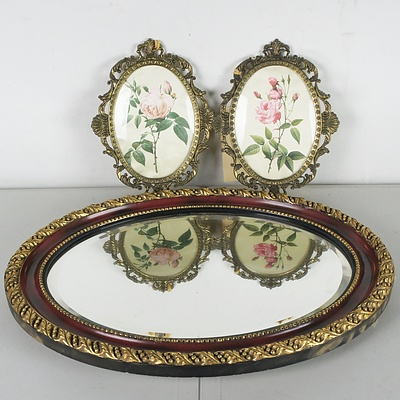 Antique Style Mirror and Two Framed Rose Weavings