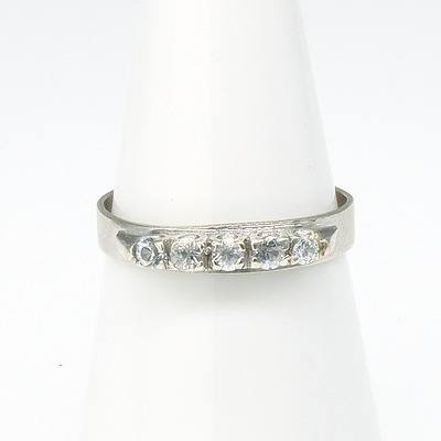 9ct White Gold Ring With Five White Paste in a Row