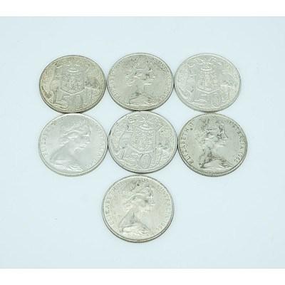 Seven 1966 Round 50c Coins