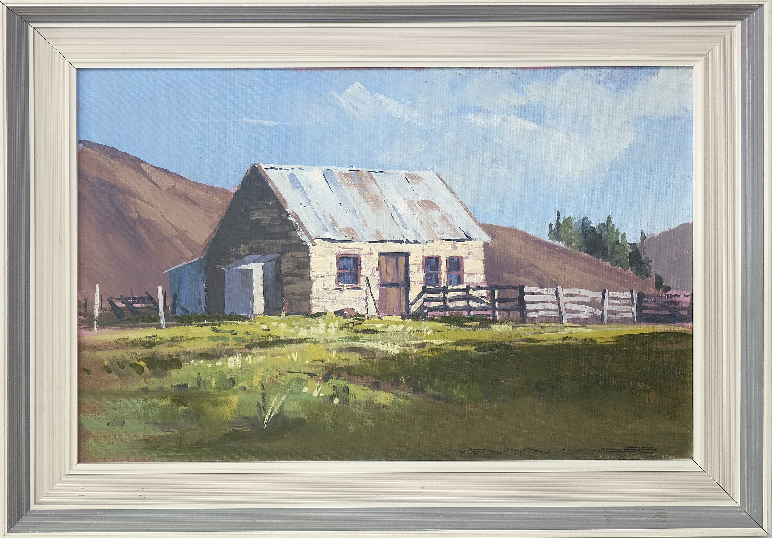 'Kevyn Webb Old Cottage at Dunback Oil on Board'